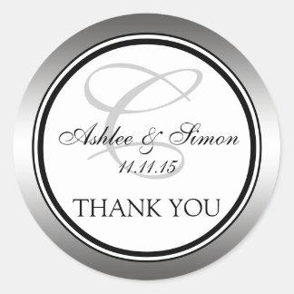 Silver Black Monogram Wedding Thank You Round Sticker