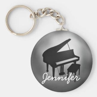 Silver Black Piano Name Monogram Student Gift Keychain