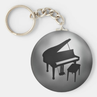 Silver Black Piano Student Gift Keychain