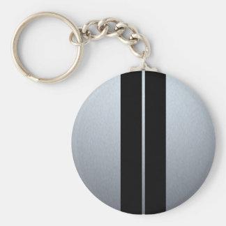 Silver & Black Racing Car Stripes Basic Round Button Keychain