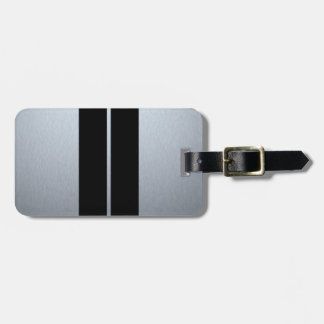 Silver & Black Racing Car Stripes Luggage Tag