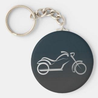 Silver Black Sleek Motorcyle Motorbike Outline Keychain