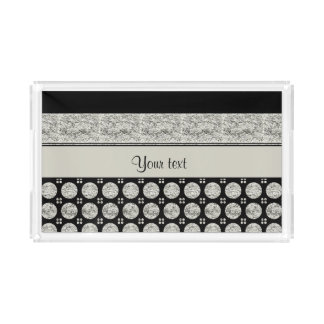 Silver & Black Stripes And Glitter Spots Acrylic Tray