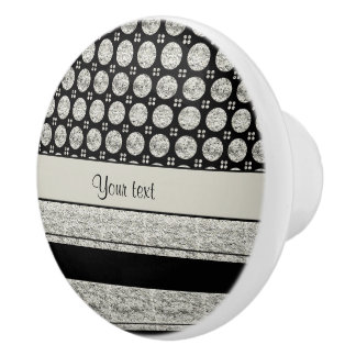 Silver & Black Stripes And Glitter Spots Ceramic Knob