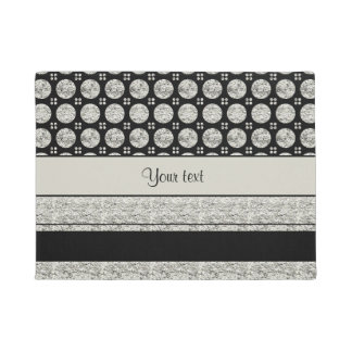 Silver & Black Stripes And Glitter Spots Doormat
