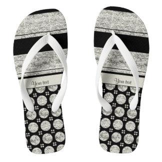 Silver & Black Stripes And Glitter Spots Flip Flops
