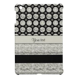 Silver & Black Stripes And Glitter Spots iPad Mini Cases
