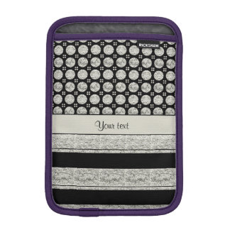 Silver & Black Stripes And Glitter Spots iPad Mini Sleeve