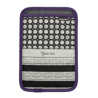 Silver & Black Stripes And Glitter Spots iPad Mini Sleeves
