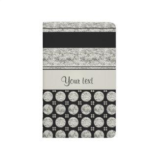 Silver & Black Stripes And Glitter Spots Journal