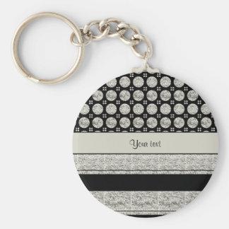 Silver & Black Stripes And Glitter Spots Keychain
