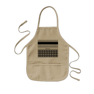Silver & Black Stripes And Glitter Spots Kids Apron