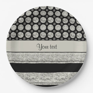 Silver & Black Stripes And Glitter Spots Paper Plate