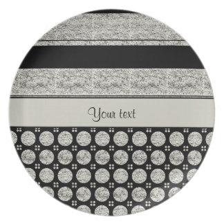 Silver & Black Stripes And Glitter Spots Plate