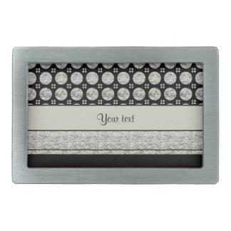 Silver & Black Stripes And Glitter Spots Rectangular Belt Buckles