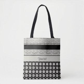 Silver & Black Stripes And Glitter Spots Tote Bag