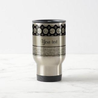 Silver & Black Stripes And Glitter Spots Travel Mug