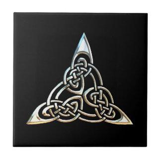 Silver Black Triangle Spirals Celtic Knot Design Ceramic Tiles