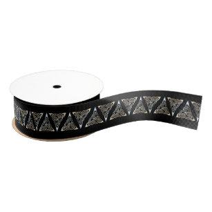 Silver Black Triangle Spirals Celtic Knot Design Grosgrain Ribbon