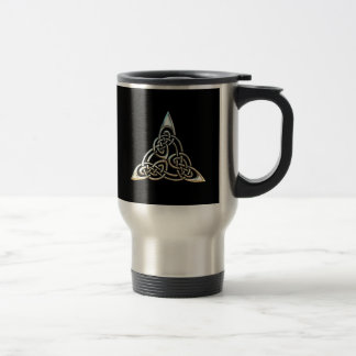Silver Black Triangle Spirals Celtic Knot Design Travel Mug