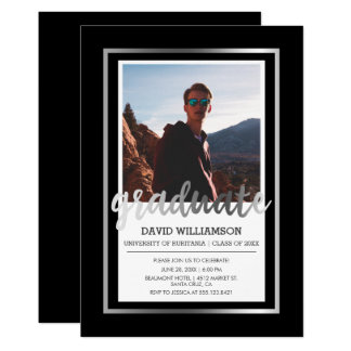 Silver & Black Typography   Photo Graduation Party Card