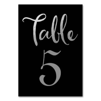Silver Black Wedding Table Number Typography Cards Table Card