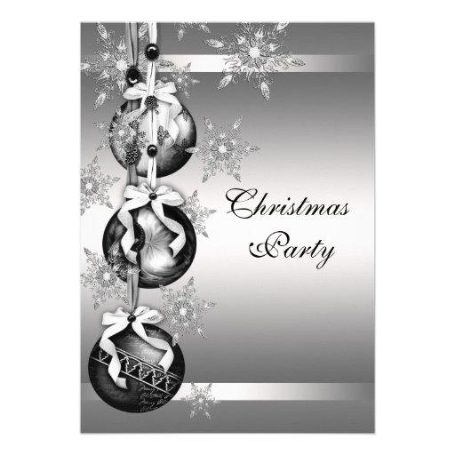 Silver Black White Snowflakes Christmas Party Custom Invitation