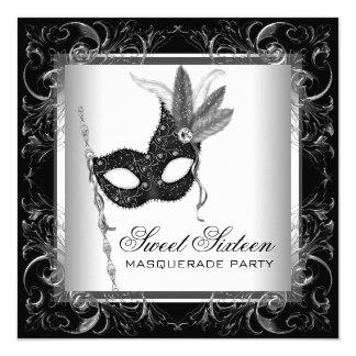 """Silver Black White Sweet 16 Masquerade Party 5.25"""" Square Invitation Card"""
