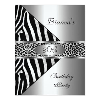 "Silver Black Zebra Leopard Invite 30th Birthday Pa 4.25"" X 5.5"" Invitation Card"