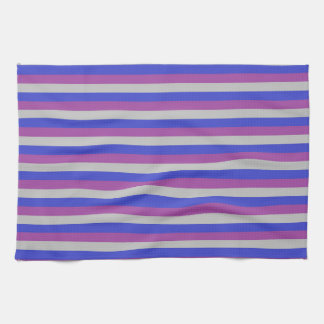 Silver, Blue and Purple Stripes Kitchen Towel