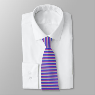 Silver, Blue and Purple Stripes Tie