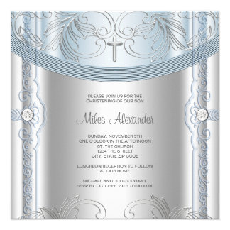 Silver Blue Baby Boy Christening Card