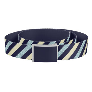 Silver Blue Beige Slant Striped Belt