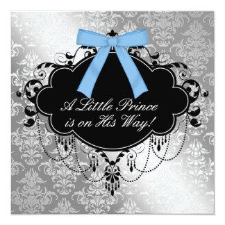 Silver Blue Black Prince Baby Boy Shower Card