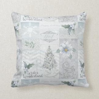 Silver Blue Christmas decor Pillow
