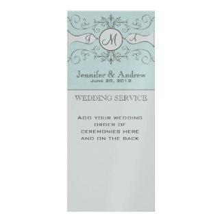 Silver Blue Church Wedding Programs Custom Announcement
