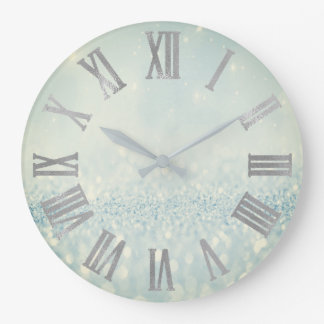 Silver Blue Glitter Minimal Metallic Roman Numers Large Clock