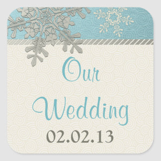 Silver Blue Gold Snowflake Winter Wedding Stickers