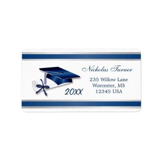 Silver blue Graduation Mortar cap & diploma Label