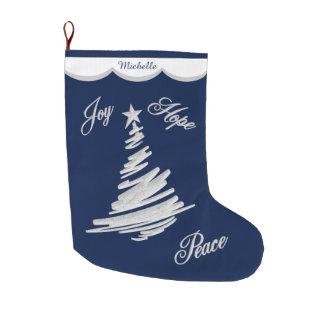 Silver Blue Joy Hope Peace Large Christmas Stocking