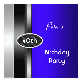 Silver Blue Mens 40th Birthday Party Man Card