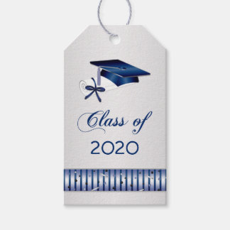 Silver blue mortar, diploma Graduation Pack Of Gift Tags