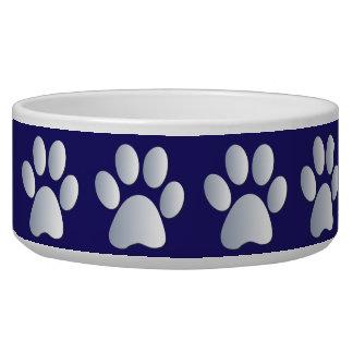 Silver blue pawprints beautiful pet dog bowl