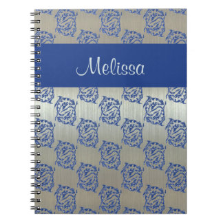 Silver Blue Pisces Fish Pattern Spiral Note Books