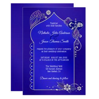 Silver Blue Purple Henna Mehndi Wedding Invitation