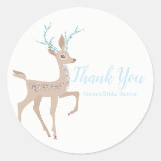 Silver & Blue Reindeer Holiday Winter Wonderland Classic Round Sticker