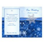 Silver blue snowflake on blue Wedding Program Full Colour Flyer