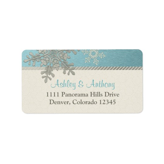 Silver Blue Snowflake Winter Wedding Address