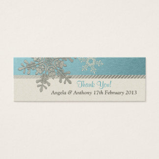 Silver Blue Snowflake Winter Wedding Favor Tags Mini Business Card