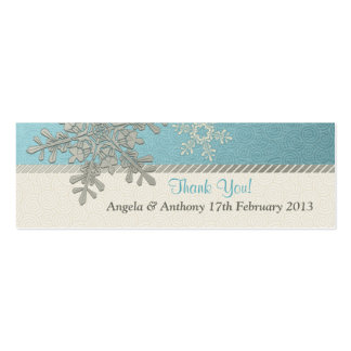 Silver Blue Snowflake Winter Wedding Favor Tags Pack Of Skinny Business Cards